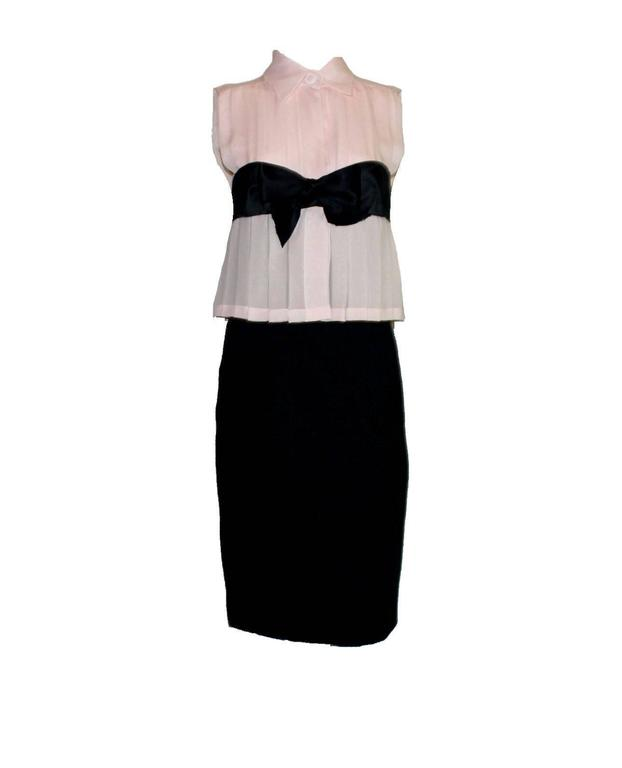 Chanel Pleated Signature Bow Silk & Boucle Dress  3