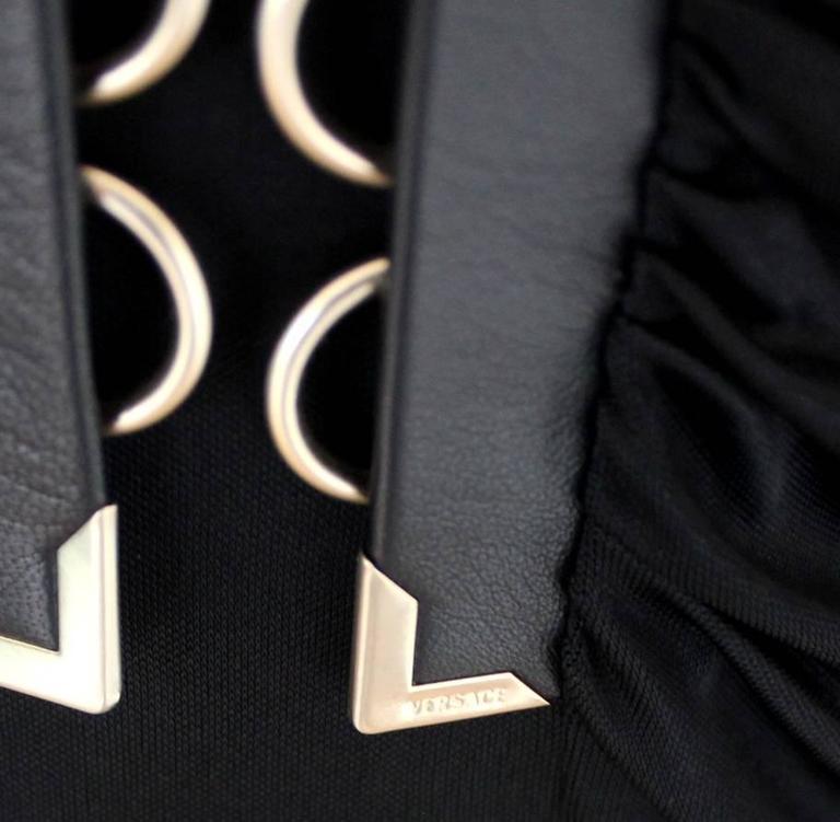 Stunning Versace Black Jersey & Leather Trim Dress 4
