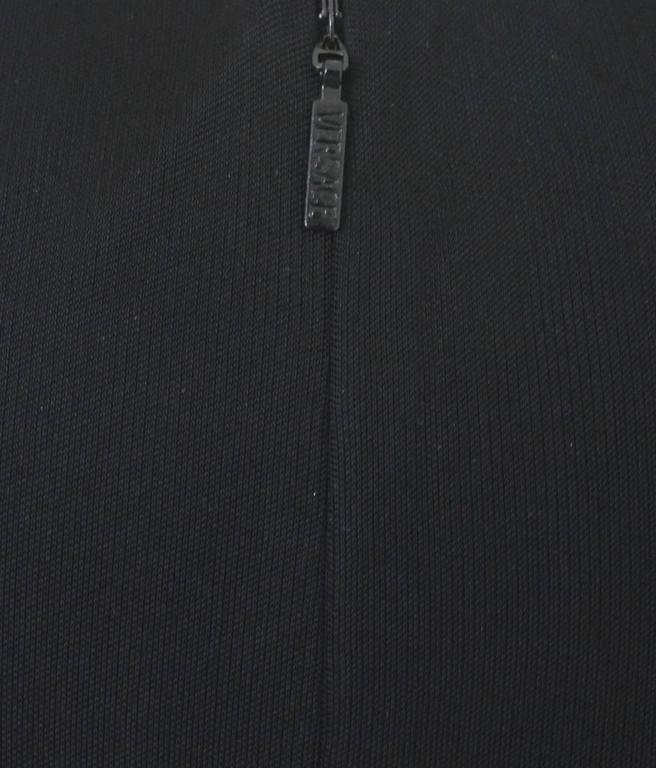 Stunning Versace Black Jersey & Leather Trim Dress 5