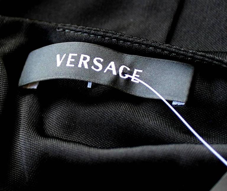 Stunning Versace Black Jersey & Leather Trim Dress For Sale 2