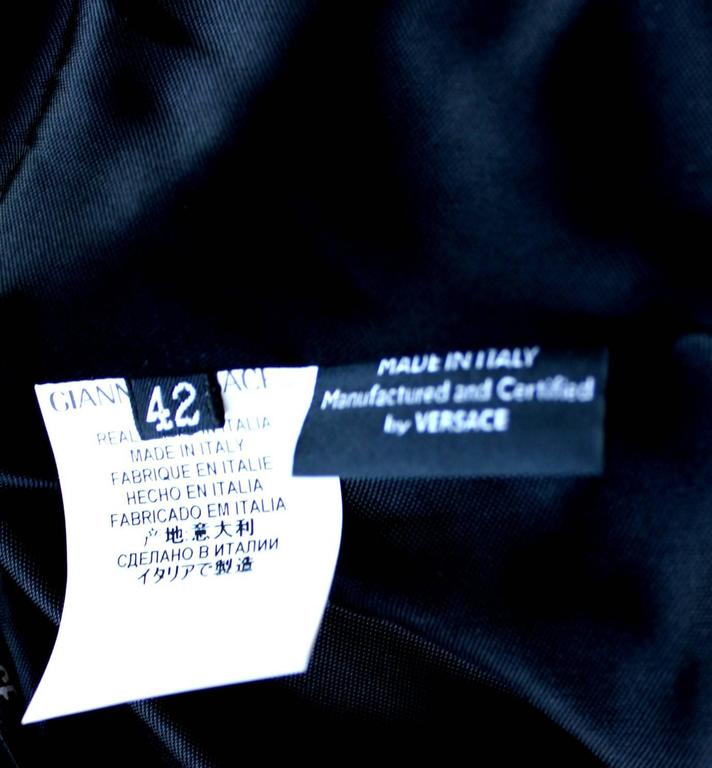 Stunning Versace Black Jersey & Leather Trim Dress 7