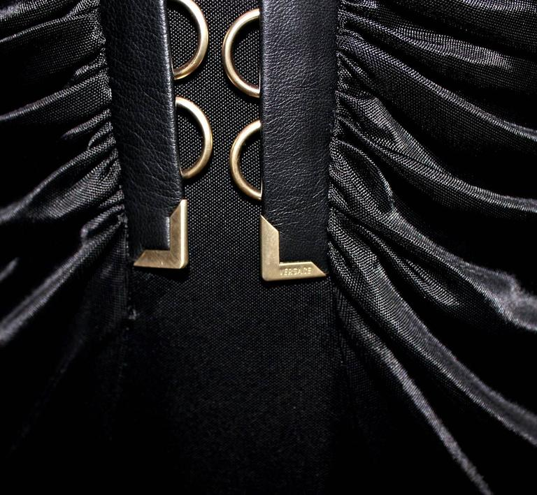 Stunning Versace Black Jersey & Leather Trim Dress In New never worn Condition For Sale In Switzerland, CH