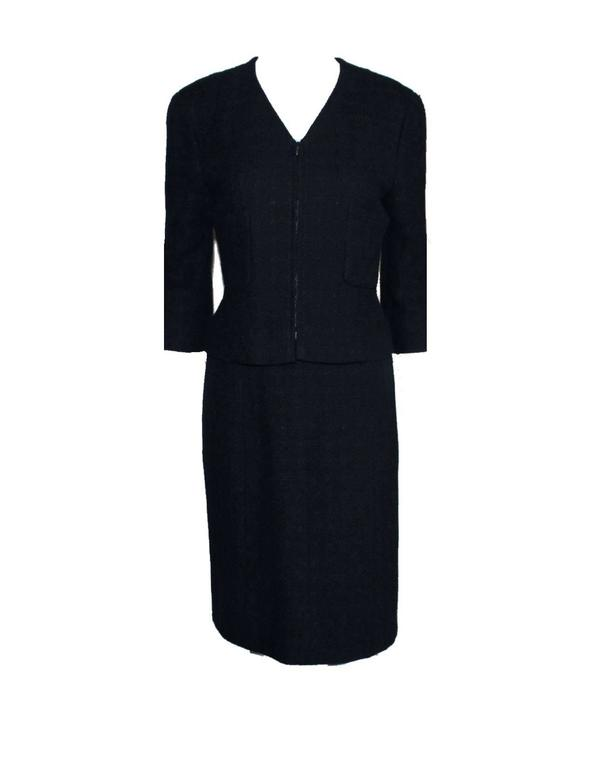 Timeless Midnight Blue Chanel Tweed Skirt Suit 4