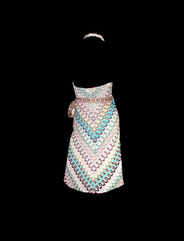Beautiful multicolor shades Classic MISSONI signature zigzag knit Simply slips on Wrap dress Fully lined with nude silk Dry Clean only Made in Italy Size IT 40, will fit best US 4-6 Condition: Brandnew without tags Retails for 2399$ plus taxes