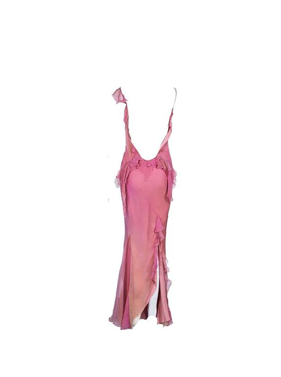 Asymmetric Christian Dior by John Galliano Silk Ombre Evening Gown with Ruches 2