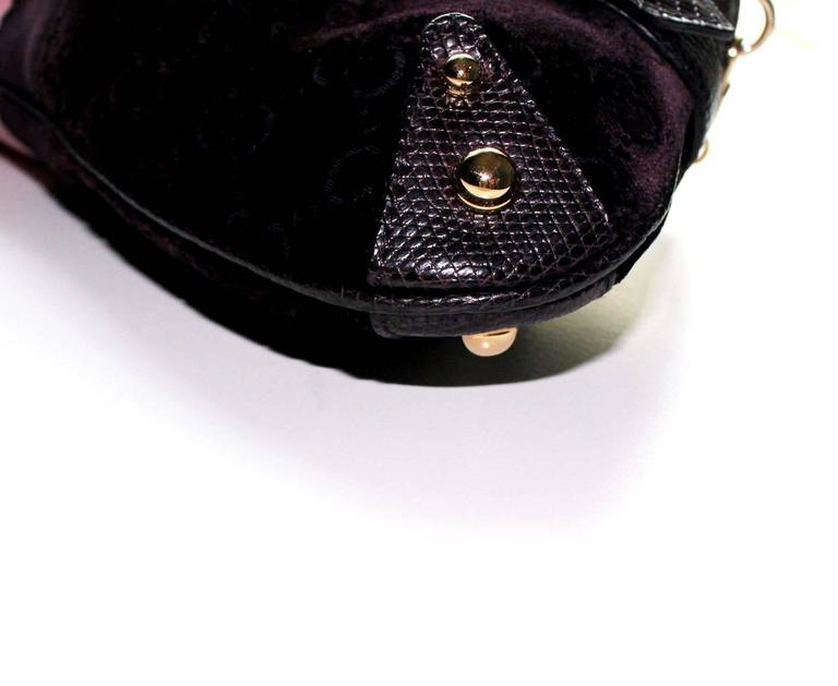 Black Gucci by Tom Ford Velvet GG Logo Exotic Lizard Skin Horsebit XXL Clutch Bag For Sale