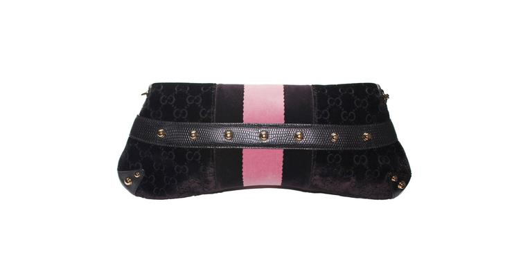 A Gucci by Tom Ford Evening Bag  Limited Edition only sold in selected Gucci flagship stores Beautiful eggplant velvet with the famous GG logo monogram Exotic lizard skin trimmings - no print! Famous Gucci signature horsebit design Velvet web