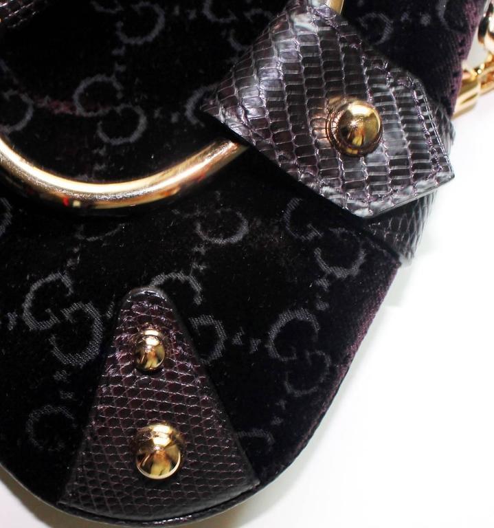 Women's Gucci by Tom Ford Velvet GG Logo Exotic Lizard Skin Horsebit XXL Clutch Bag For Sale