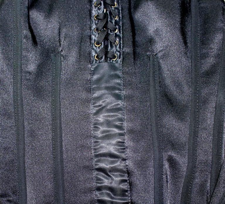 Black Dolce & Gabbana Hourglass Boned Corset Lace Up Dress LBD 4