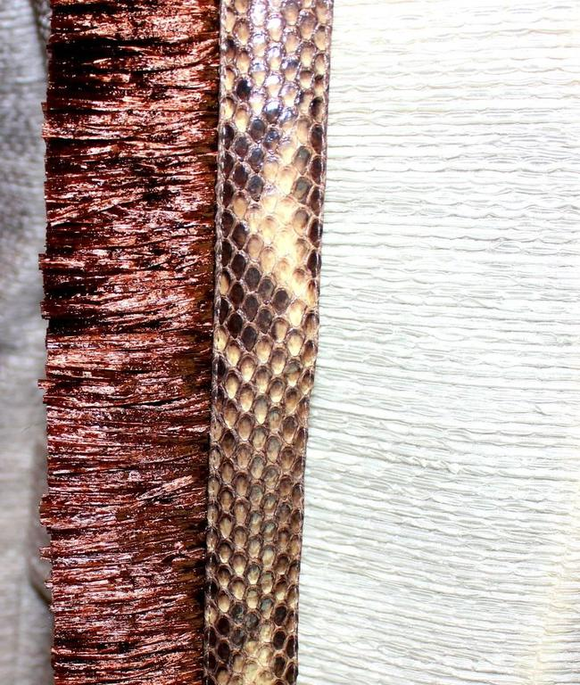 Dolce Gabbana Woven Boned Corset Dress & Coat Frayed Python Trimming For Sale 3