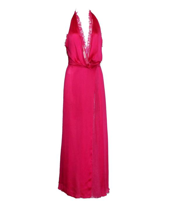 Breathtaking Gianni Versace Couture Hot Pink Silk Lace Evening Gown SS 2000 In Good Condition For Sale In Switzerland, CH