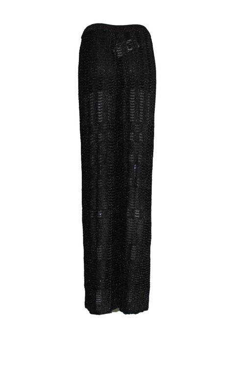 Black Missoni Crochet Knit Lurex Palazzo Pants For Sale