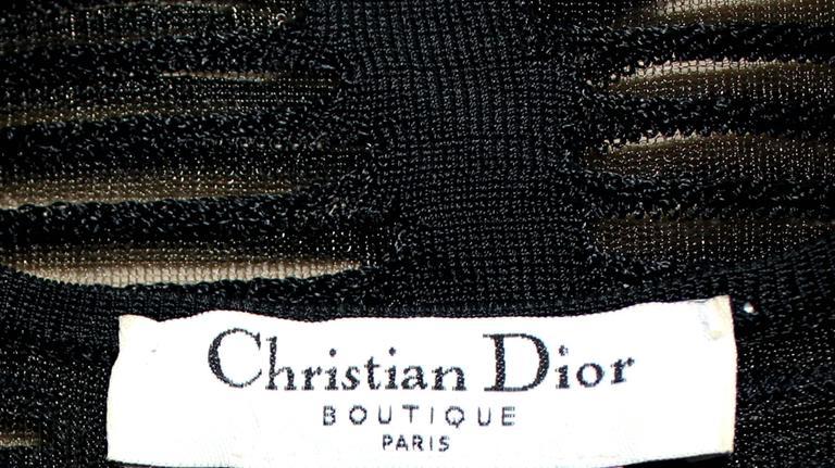 Women's Christian Dior Black Crochet Knit Dress For Sale