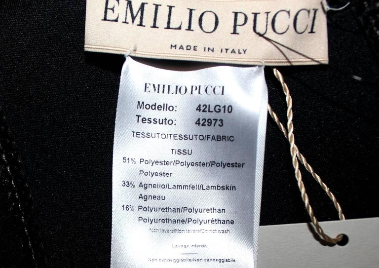 Women's Iconic Emilio Pucci by Peter Dundas Neopren & Lambskin Crystal Crest Logo Dress For Sale