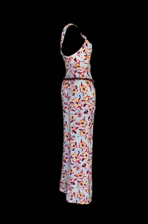 Beige Chanel CC Logo Camellia Print Vintage Silk Jumpsuit with Belt For Sale