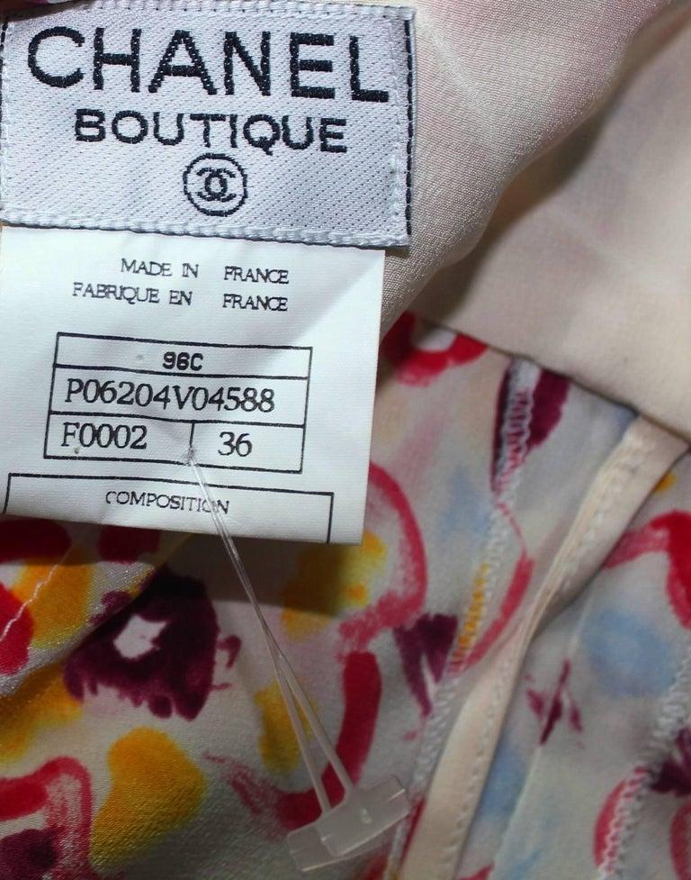 Chanel CC Logo Camellia Print Vintage Silk Jumpsuit with Belt For Sale 5