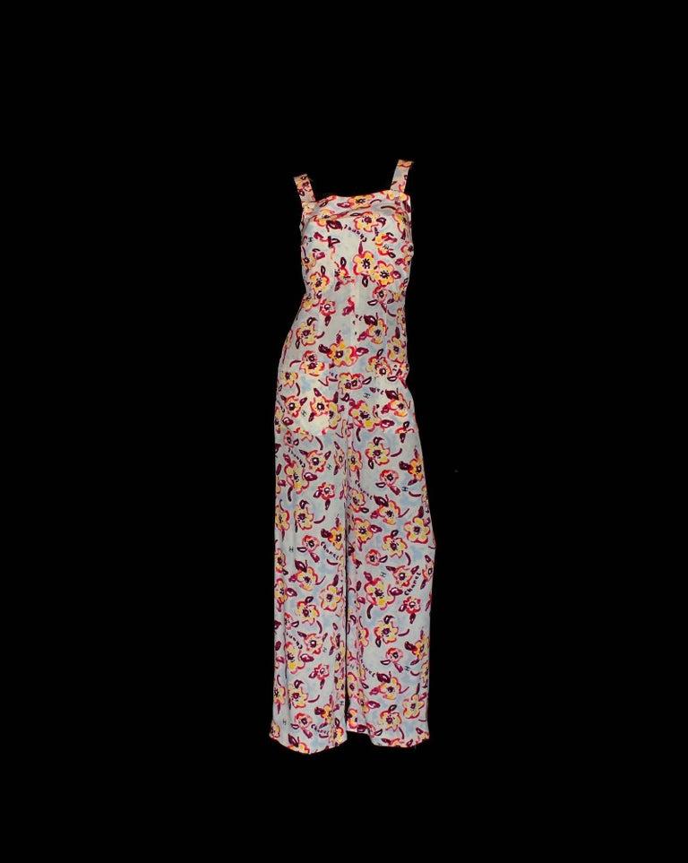 Women's Chanel CC Logo Camellia Print Vintage Silk Jumpsuit with Belt For Sale