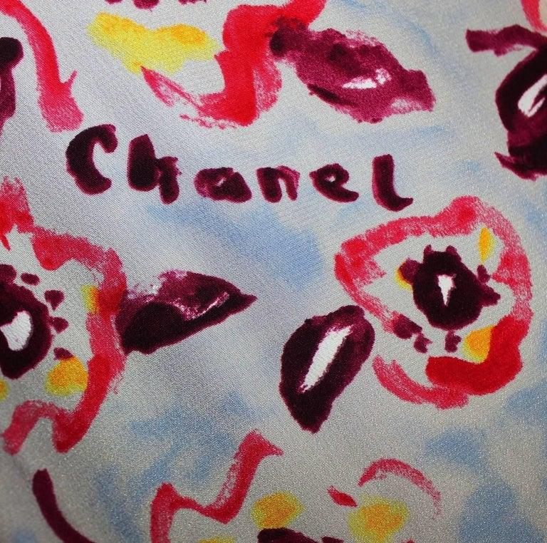 Chanel Cc Logo Camellia Print Vintage Silk Jumpsuit With