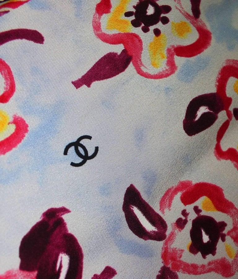 Chanel CC Logo Camellia Print Vintage Silk Jumpsuit with Belt For Sale 4