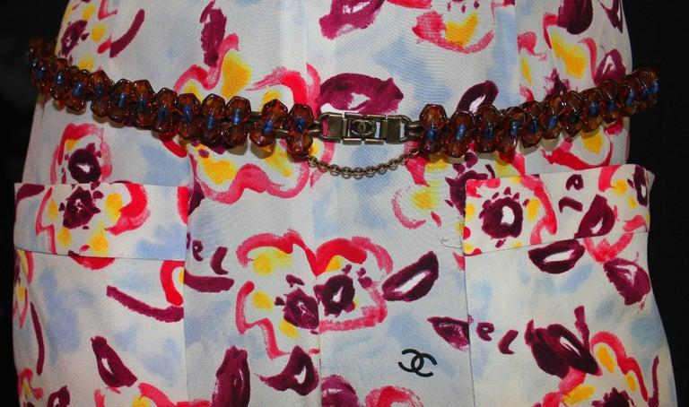 Chanel CC Logo Camellia Print Vintage Silk Jumpsuit with Belt For Sale 2