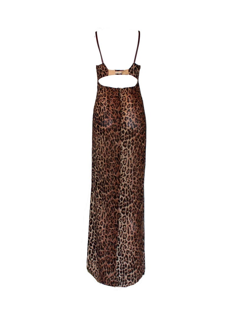 A DOLCE & GABBANA classic signature piece  From the 1990s runway show Seen on Kate Moss One of the keypieces Made out of a fantastic soft chiffon fabric with leo animal print Corset top with peek-a-boo detail Full length Dry Clean Only Made in