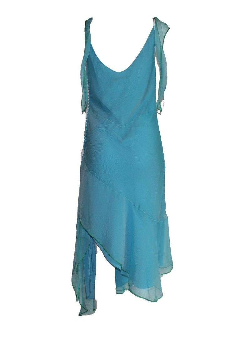 Beautiful Christian Dior by John Galliano Seafoam Silk Chiffon Dress  2