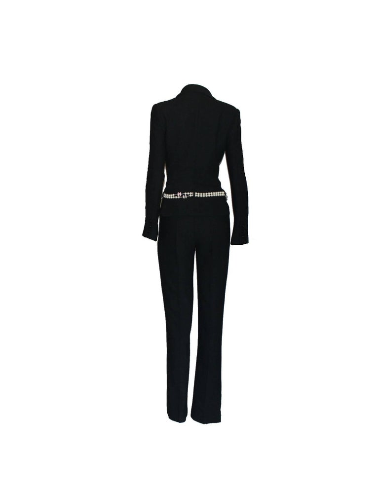 Women's Chanel Black Boucle Overall Jumpsuit with Zipper For Sale