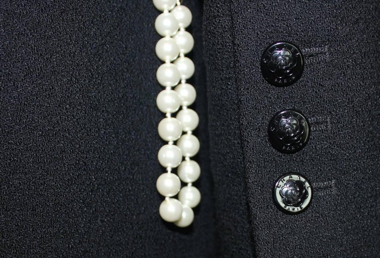 Chanel Black Boucle Overall Jumpsuit with Zipper For Sale 2