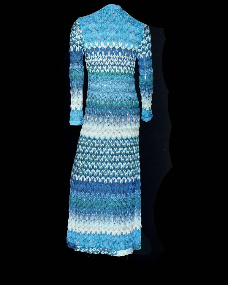 Missoni Metallic Seafoam Blue Crochet Knit Maxi Dress Gown Coat In New Condition In Switzerland, CH