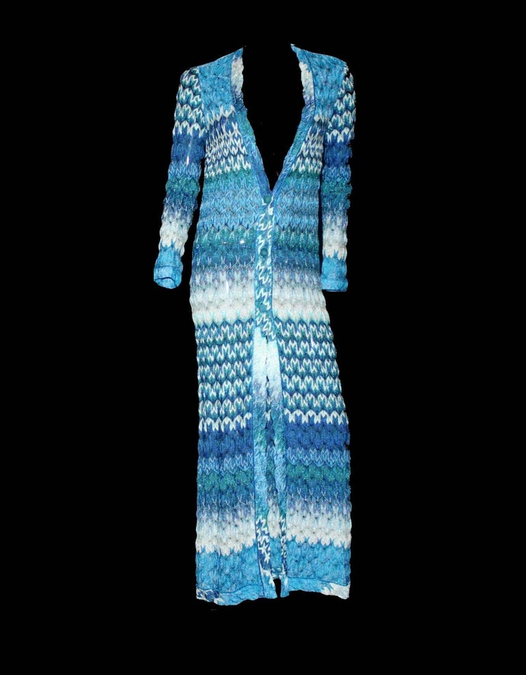 LUXURIOUS   MISSONI SEAFOAM LUREX EVENING GOWN  A stunning maxi dress by MISSONI - impossible to find! Orange Label - Missoni's exclusivest main collection Such a versatile piece - wear it as dress, coat or shrug Closes with buttons in front Full