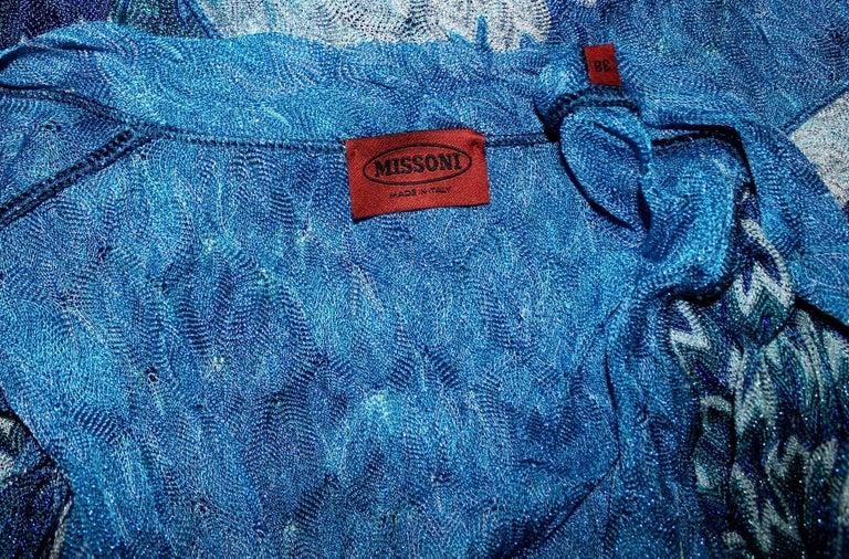Missoni Metallic Seafoam Blue Crochet Knit Maxi Dress Gown Coat 3