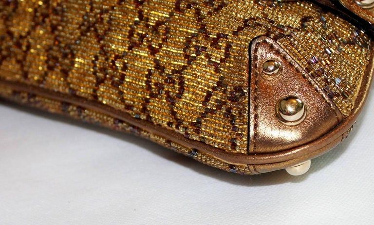 Gucci Gorgeous Golden Metallic Gucci Gg Monogram Beaded Crystal Horsebit Bag Clutch zCTXjbTO9