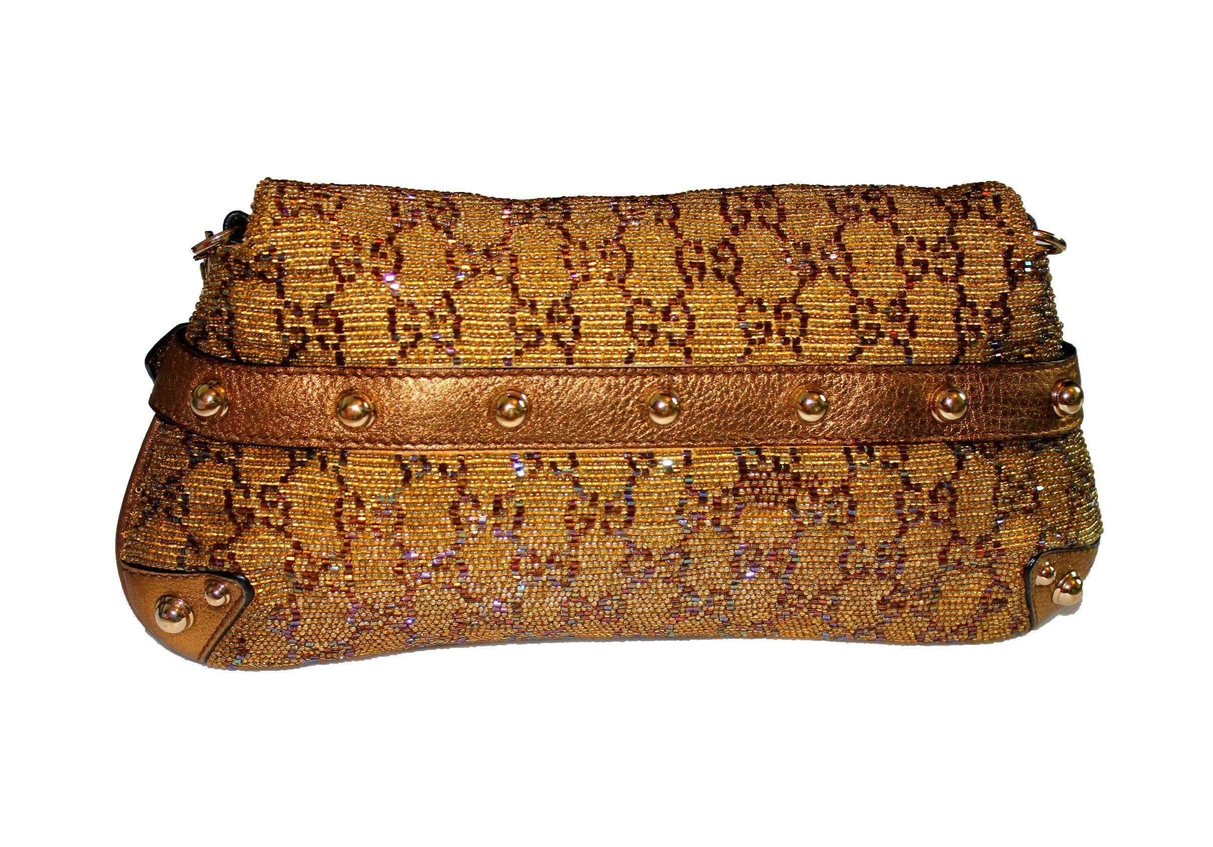 cd86768111d Gorgeous Golden Metallic Gucci GG Monogram Beaded Crystal Horsebit Bag  Clutch For Sale at 1stdibs