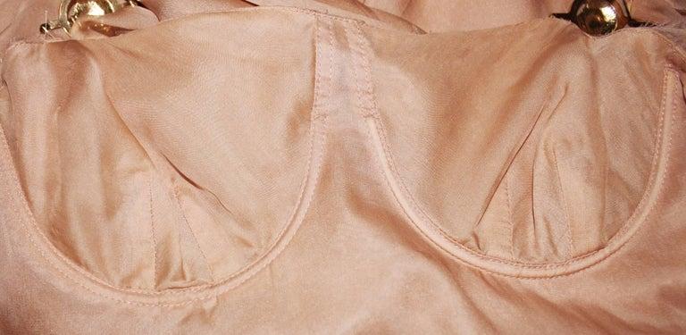 Women's Stunning Versace Blush Nude Medusa Lace & Silk Corset Dress For Sale