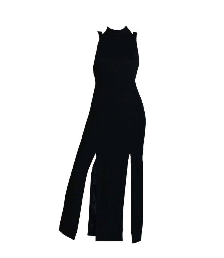 Breathtaking Gianni Versace Couture 1990s Black Bondage Back Evening Gown Dress 2