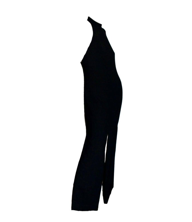 Breathtaking Gianni Versace Couture 1990s Black Bondage Back Evening Gown Dress 3