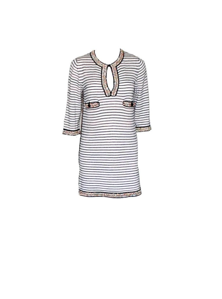 Wonderful Striped Multicolor Chanel Beaded Cashmere Mix Mini Dress  3
