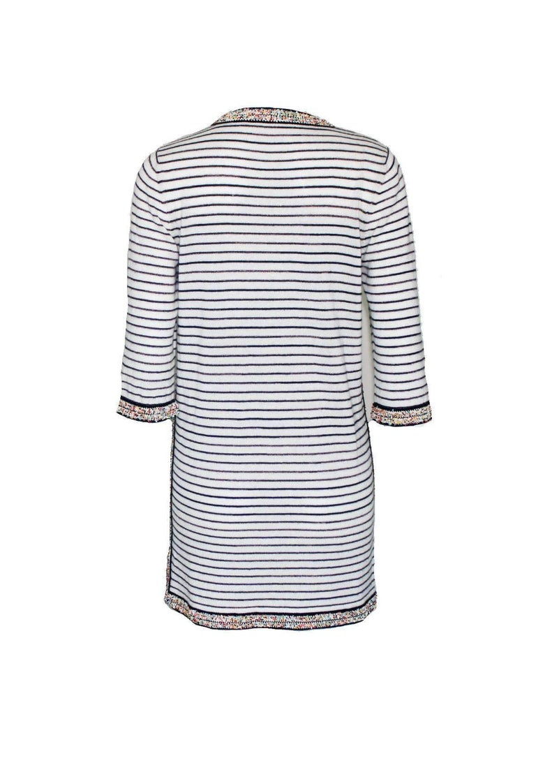 Wonderful Striped Multicolor Chanel Beaded Cashmere Mix Mini Dress  2
