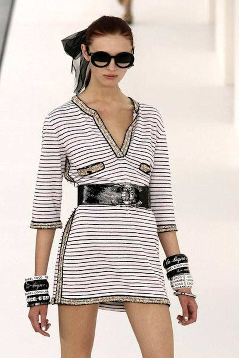 Wonderful Striped Multicolor Chanel Beaded Cashmere Mix Mini Dress  8