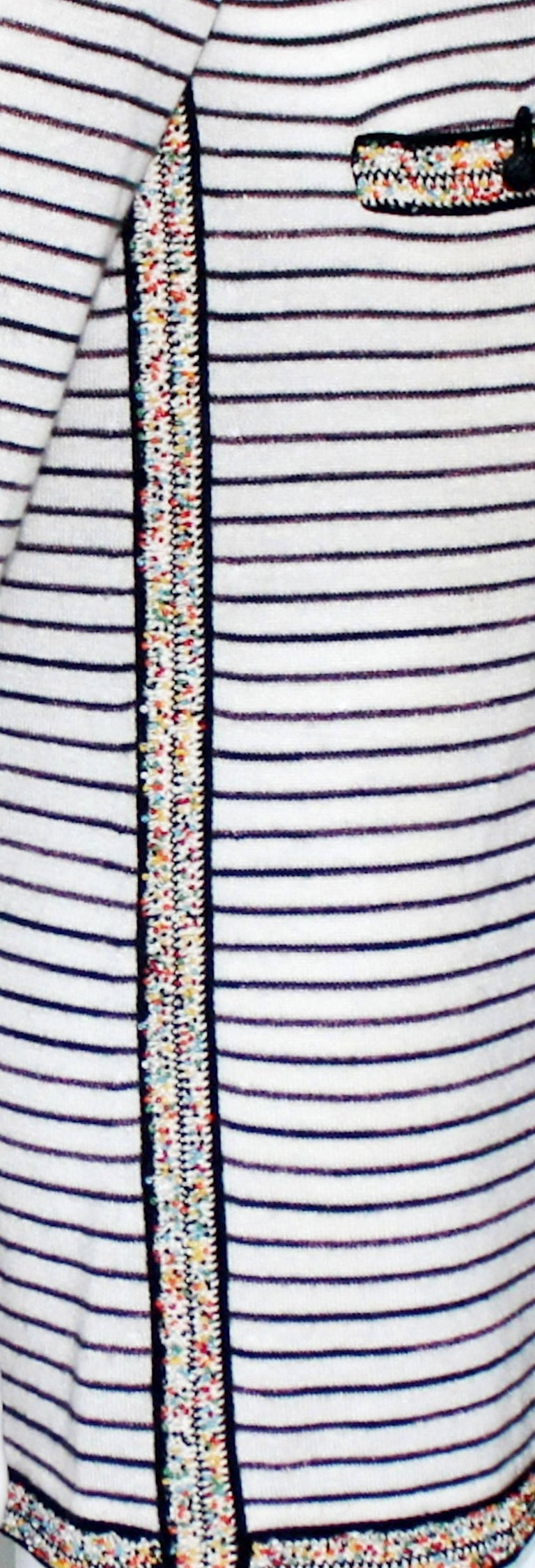 Wonderful Striped Multicolor Chanel Beaded Cashmere Mix Mini Dress  4