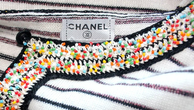 Wonderful Striped Multicolor Chanel Beaded Cashmere Mix Mini Dress  6
