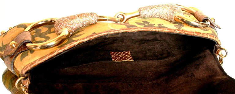 Brown Exotic Gucci by Tom Ford 2004 XXL Velvet Crystal Encrusted Horsebit Clutch For Sale