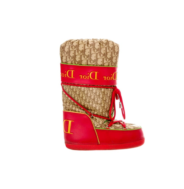 Women's Christian Dior by John Galliano Rasta Diorissimo Logo Moon Snow Boots For Sale