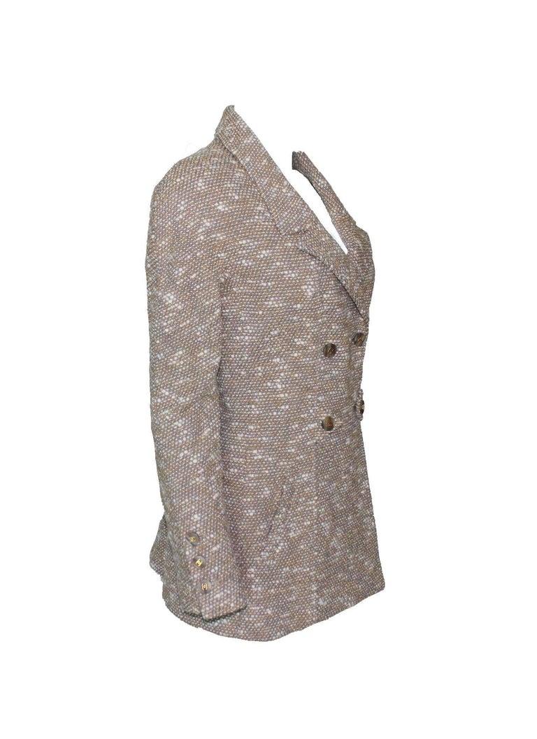 Brown Stunning Chanel Tweed CC Logo Button Short Coat Jacket Blazer For Sale