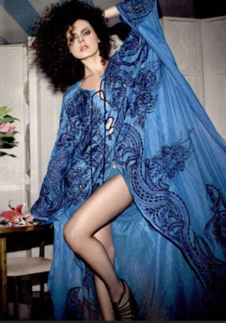 Stunning Blue Emilio Pucci Lace Up Maxi Kaftan Dress For Sale 2