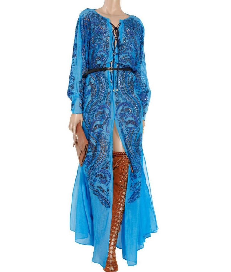 Women's Stunning Blue Emilio Pucci Lace Up Maxi Kaftan Dress For Sale