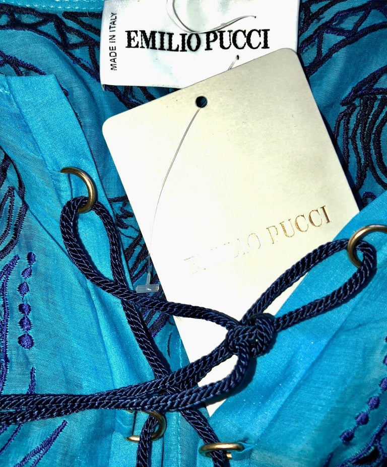 Stunning Blue Emilio Pucci Lace Up Maxi Kaftan Dress In New Condition For Sale In Switzerland, CH