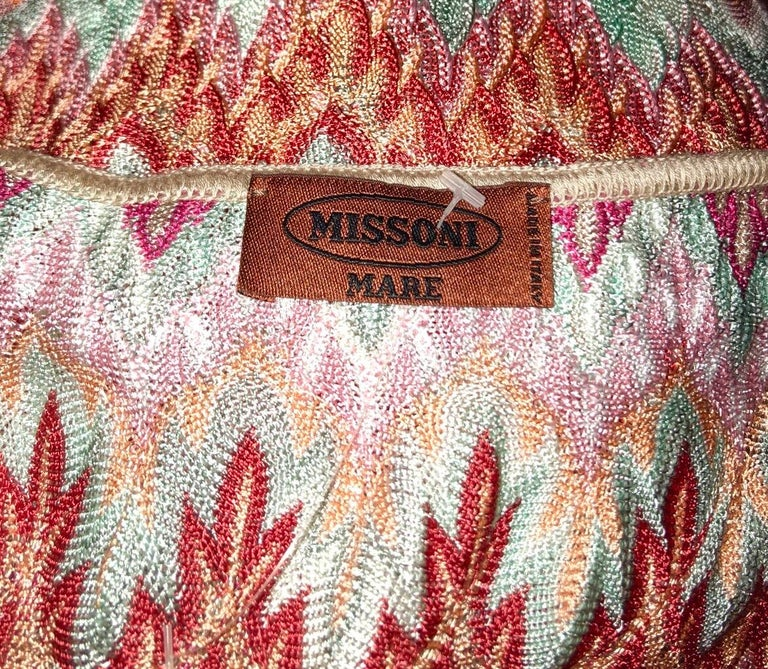 NEW Missoni Signature Chevron Crochet Knit Belted Tunic Mini Dress In New Condition For Sale In Switzerland, CH