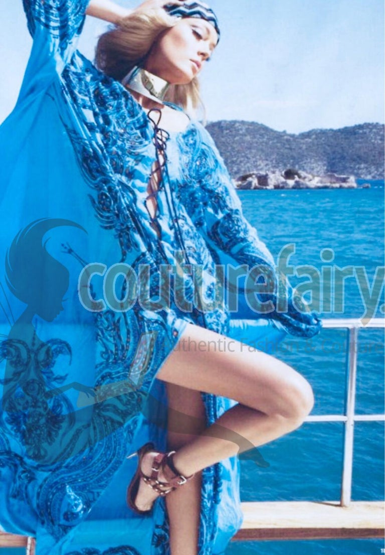 Stunning Blue Emilio Pucci Lace Up Maxi Kaftan Dress For Sale 8