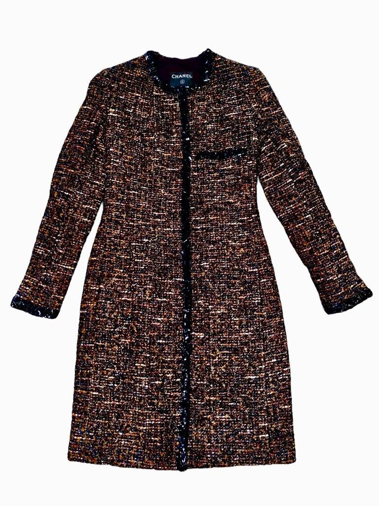 Chanel Metallic Lesage Fantasy Tweed Sequin Trimmed Coat  For Sale 8